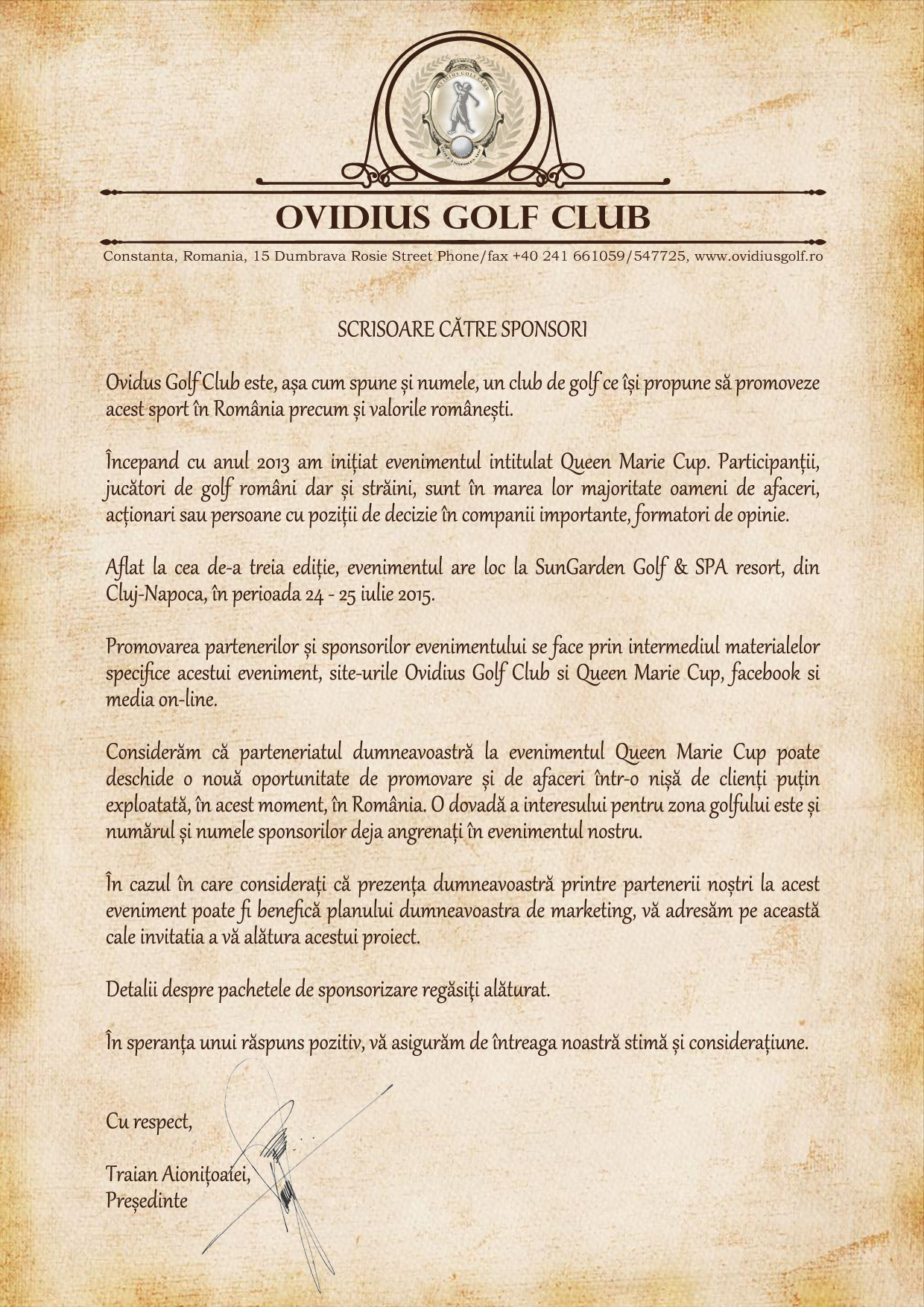 Scrisoare catre sponsori editia 2015 golf Queen Marie Cup